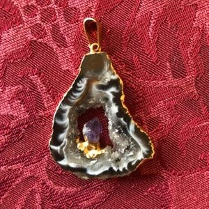 Jewelry - Amethyst Point Inside Sparkling Gold Coated Geode